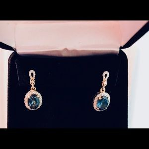 Blue topaz earrings with diamonds and 14k gold